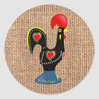 Cute Rooster Barcelos Portugal Burlap background Classic Round Sticker