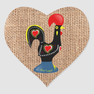 Cute Rooster Barcelos Portugal Burlap background Heart Sticker
