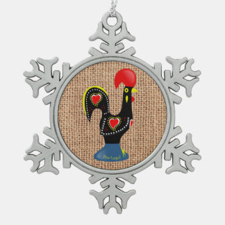 Cute Rooster Barcelos Portugal Burlap background Ornaments