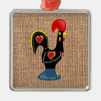 Cute Rooster Barcelos Portugal Burlap background Ornament