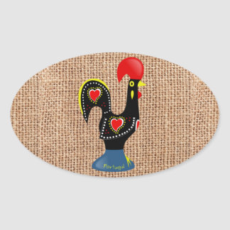 Cute Rooster Barcelos Portugal Burlap background Oval Sticker