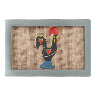 Cute Rooster Barcelos Portugal Burlap background Rectangular Belt Buckle