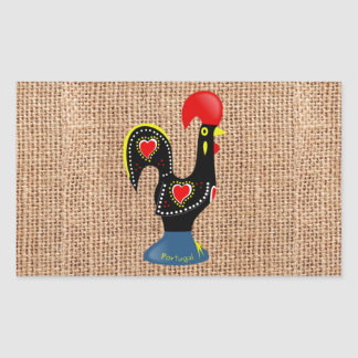 Cute Rooster Barcelos Portugal Burlap background Rectangular Sticker