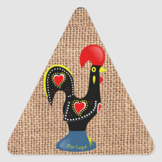 Cute Rooster Barcelos Portugal Burlap background Stickers