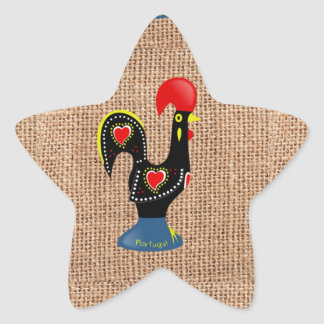 Cute Rooster Barcelos Portugal Burlap background Star Stickers