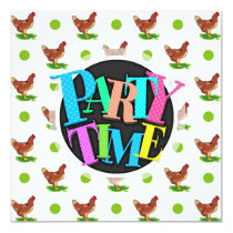 Cute Rooster, Chicken, Green Polka Dots Card