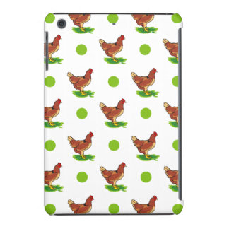 Cute Rooster, Chicken, Green Polka Dots iPad Mini Cases