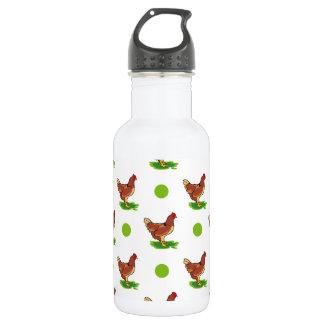 Cute Rooster, Chicken, Green Polka Dots 18oz Water Bottle