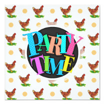 Cute Rooster, Chicken, Tan Polka Dots Card