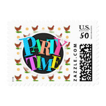 Cute Rooster, Chicken, Tan Polka Dots Postage
