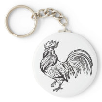 Cute Rooster Country Farm Girl Farmer Chicken Keychain