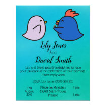 Cute Rooster Hen Blue Wedding Invitation