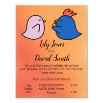 Cute Rooster Hen Orange Wedding Invitation