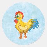 Cute Rooster round sticker