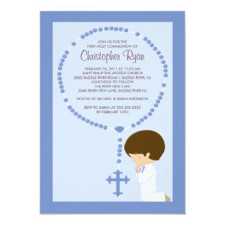 Cute Rosary First Communion Invitation Boy Blue