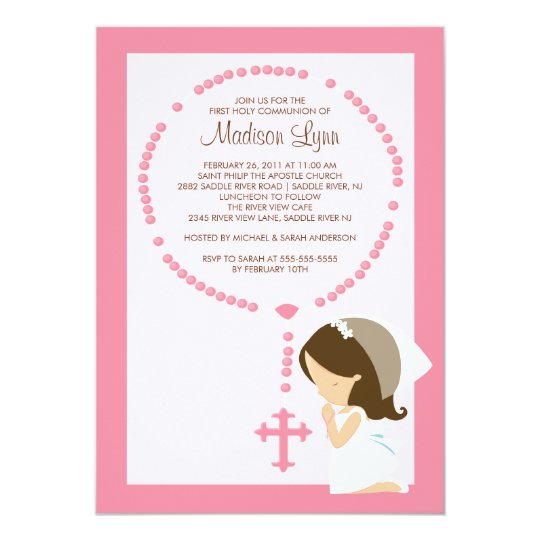 Cute Rosary First Communion Invitation Girl Pink | Zazzle