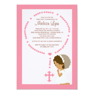 Cute Rosary First Communion Invitation Girl Pink