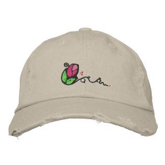 Cute Rose Bud Design Hat Embroidered Baseball Caps