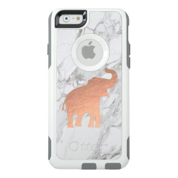 Cute Rose Gold Elephant On White Marble Otterbox Iphone 6/6s Case by amoredesign at Zazzle
