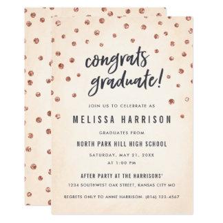 Cute Rose Gold Polka Dot Graduation Invitations