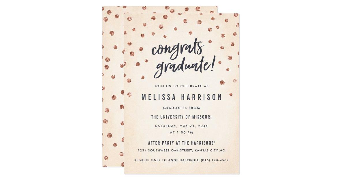 Cute Rose Gold Polka Dot Graduation Invitations Zazzle Com