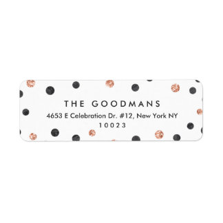 Cute Rose Gold Polka Dots Return Address Labels