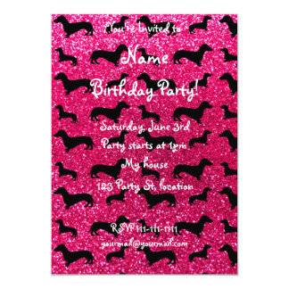 Cute rose pink dachshund glitter pattern card