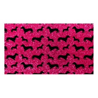 Cute rose pink dachshund glitter pattern Double-Sided standard business cards (Pack of 100)