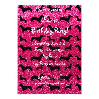 Cute rose pink dachshund glitter pattern 5x7 paper invitation card