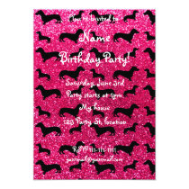 Cute rose pink dachshund glitter pattern invitation