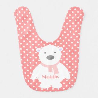 Cute Rose/White Polka Dots, Polar Bear, Add name Bibs