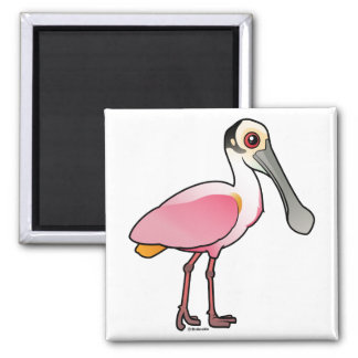 Cute Roseate Spoonbill 2 Inch Square Magnet