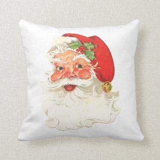 Cute Rosy Cheeks Retro Santa Throw Pillow