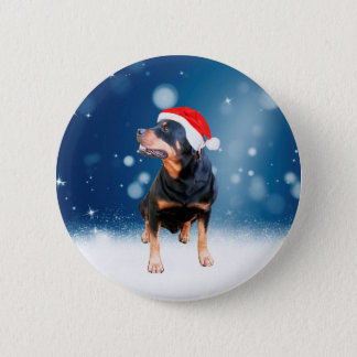 Cute Rottweiler Dog Christmas Santa Hat Snow Stars Pinback Button