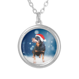 Cute Rottweiler Dog Christmas Santa Hat Snow Stars Round Pendant Necklace