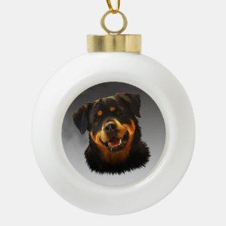 Cute Rottweiler Dog Water Color Art Portrait Ceramic Ball Christmas Ornament