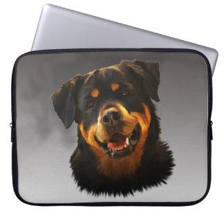 Cute Rottweiler Dog Water Color Art Portrait Computer Sleeve