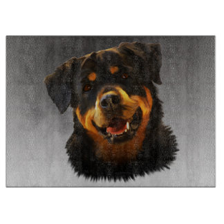 Cute Rottweiler Dog Water Color Art Portrait Cutting Board