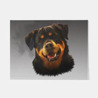 Cute Rottweiler Dog Water Color Art Portrait Doormat