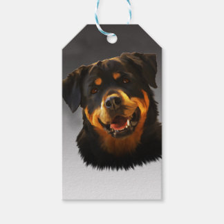 Cute Rottweiler Dog Water Color Art Portrait Gift Tags
