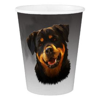Cute Rottweiler Dog Water Color Art Portrait Paper Cup