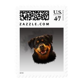 Cute Rottweiler Dog Water Color Art Portrait Postage