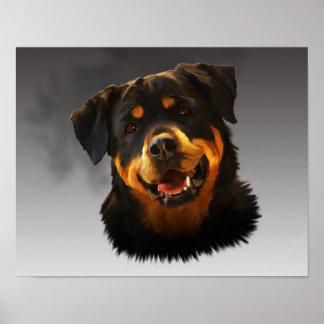 Cute Rottweiler Dog Water Color Art Portrait Poster