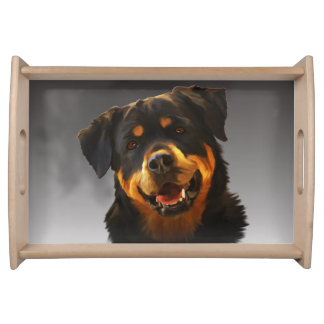 Cute Rottweiler Dog Water Color Art Portrait Serving Tray