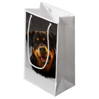 Cute Rottweiler Dog Water Color Art Portrait Small Gift Bag