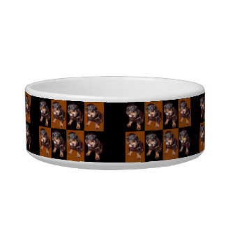"""Cute Rottweiler Pup On """"Black and Tan"""" Bowl"""