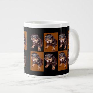 "Cute Rottweiler Pup On ""Black and Tan"" Giant Coffee Mug"