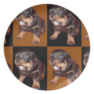 """Cute Rottweiler Pup On """"Black and Tan"""" Melamine Plate"""