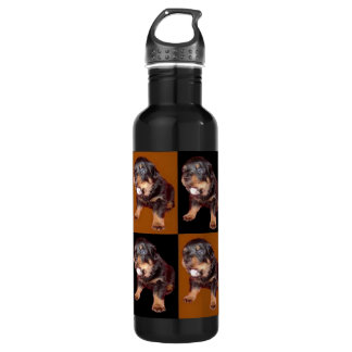 """Cute Rottweiler Pup On """"Black and Tan"""" Water Bottle"""
