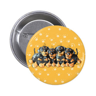 Cute Rottweiler Puppies Cartoon Button
